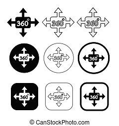 aláír, egyszerű, fok, tervezés, 360, ikon
