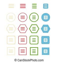 aláír, egyszerű, ikon, toogle, tervezés