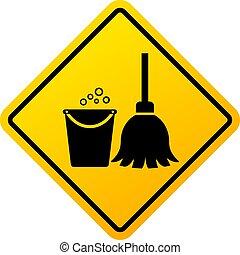 aláír, előrehalad, takarítás, figyelmeztetés