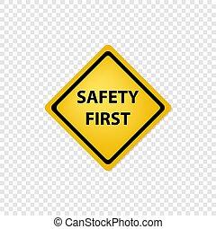 aláír, először, ikon, biztonság, út
