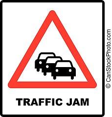aláír, figyelmeztetés, forgalom, háttér, torlódás, fehér, út