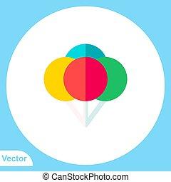 aláír, ikon, jelkép, vektor, balloon
