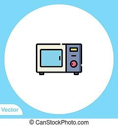 aláír, ikon, lakás, jelkép, vektor, mikrohullám