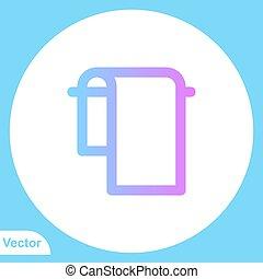 aláír, ikon, lakás, jelkép, vektor, törülköző