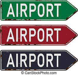 aláír, irányítások, rajz, állhatatos, repülőtér, vektor, felé