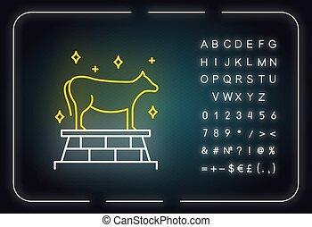 aláír, izzó, sztori, neon, bika, icon., ábra, bálvány, vallásos, arany-, kivonulás, legend., representation., borjú, abc, fény, narrative., symbols., bibliai, állat, vektor, elszigetelt, számok, biblia