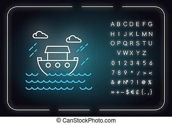 aláír, izzó, sztori, neon, icon., noé, ábra, vallásos, legend., water., ark., abc, világ-, fény, narrative., symbols., bibliai, vektor, szent, hajó, elszigetelt, számok, biblia, ár