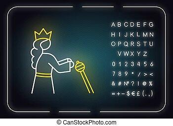 aláír, izzó, sztori, neon, királyné, icon., ábra, vallásos, öreg, crown., abc, esther, fény, narrative., symbols., bibliai, testamentum, perzsa, vektor, elszigetelt, számok, biblia