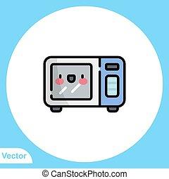 aláír, jelkép, ikon, lakás, mikrohullám, vektor