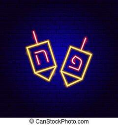 aláír, neon, dreidel