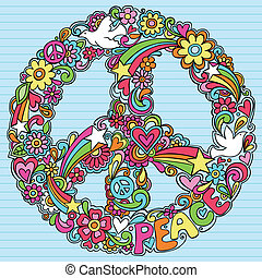 aláír, psychedelic, galamb, doodles, béke
