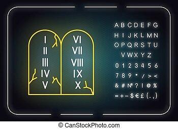 aláír, uram, izzó, sztori, neon, parancsolat, icon., tablets., ábra, vallásos, legend., abc, fény, symbols., bibliai, vektor, megkövez, tíz, elszigetelt, számok, biblia, írott