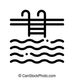 aláír, víz, vektor, sovány megtölt, uszoda, ikon