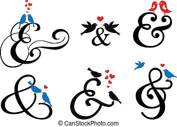 aláír, vektor, madarak, és jelet