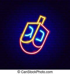 aláír, zsidó, neon, dreidel
