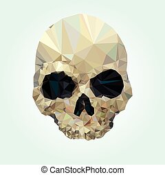 alacsony, koponya, kristály, vektor, poly