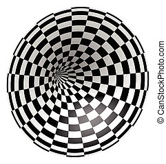 alagút, sakktábla, kép, digitális, wireframe, tunnel., vektor, háttér, wormhole., vagy