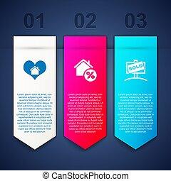 alakít, állhatatos, szív, aláír, ügy, épület, percant, függő, template., vektor, sold., infographic