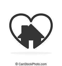 alakít, épület, szív, icon.