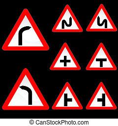 alakít, út, 1, nyolc, állhatatos, white piros, cégtábla, háromszög