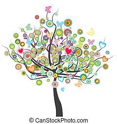 alakít, leaves.eps, pillangók, menstruáció, karika, színezett, fa