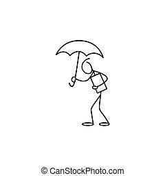 alak, esernyő, bot, birtok, ember