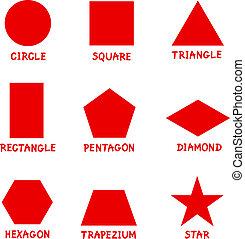 alakzat, captions, geometriai, alapvető
