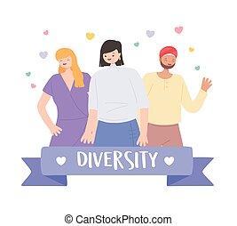 alakzat, emberek, etnikai, különféle, multicultural, sok nemzetiségű, különböző