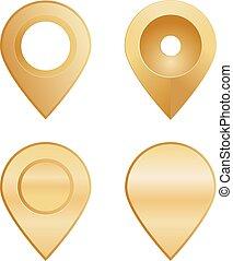 alakzat, faszegek, különböző, elhelyezés, arany