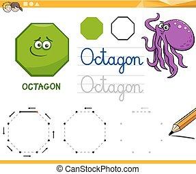 alakzat, geometriai, karikatúra, nyolcszög, alapvető