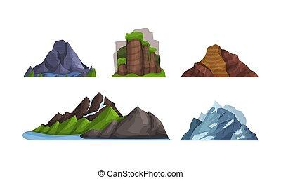alakzat, különféle, hegyek, vektor, dombok, colors., illustration.