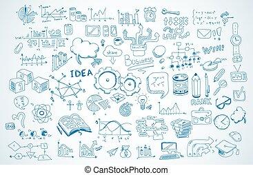 alapismeretek, ügy, állhatatos, vektor, infographics, skicc, doodles, shapes., :, elszigetelt