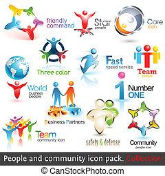 alapismeretek, ügy emberek, icons., vektor, tervezés, közösség, 3