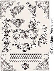 alapismeretek, calligraphic, dekoráció, vektor, tervezés, oldal, set: