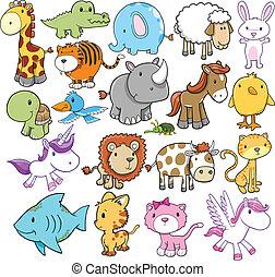alapismeretek, csinos, vektor, tervezés, állat