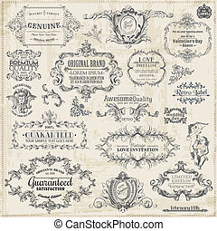 alapismeretek, dekoráció, keret, gyűjtés, calligraphic, vektor, tervezés, szüret, oldal, set: