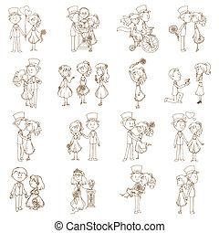 alapismeretek, esküvő, -, vektor, tervezés, scrapbook, meghívás, doodles