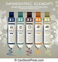 alapismeretek, grafikon papír, kreatív, ceruza, infographic, bár