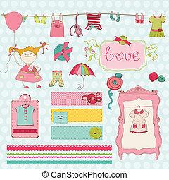 alapismeretek, -, gyűjtés, csecsemő, tervezés, szekrény, scrapbook, leány