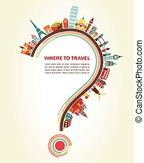 alapismeretek, ikonok, idegenforgalom, kérdőjel, utazás, hol