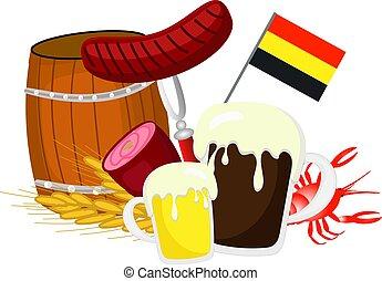 alapismeretek, jamon, német lobogó, sör, más, háttér, fehér, oktoberfest., puskacső