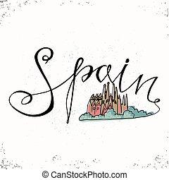 alapismeretek, letters., nyomdai, felirat, kéz, jámbor, templom, család, spanyolország, vektor, barcelona., tervezés, illustration., húzott, design.