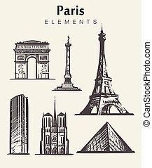 alapismeretek, párizs, hand-drawn, állhatatos, vektor, skicc, illustration., épület.