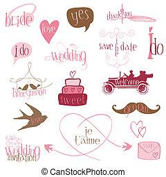 alapismeretek, romantikus, meghívás, -for, vektor, tervezés, esküvő, scrapbook