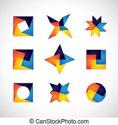 alapismeretek, színes, ikonok, alakzat, vektor, tervezés, geometriai