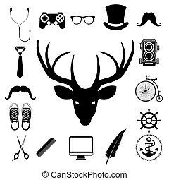 alapismeretek, szüret, set., csípőre szabott, retro, ikon