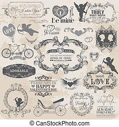 alapismeretek, szeret, valentine's, szüret, -, vektor, tervezés, scrapbook, díszlet tervezés