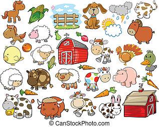 alapismeretek, tanya, vektor, tervezés, állat