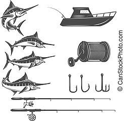 alapismeretek, tenger, aláír, fish, menu., elszigetelt, mély, embléma, háttér., vektor, tervezés, icons., kard, arcmás, címke, fehér, jel, illustration.