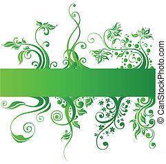 alapismeretek, természet, vektor, tervezés, virágos, zöld